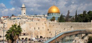 Jerusalem, panorama of Wailing wall and Mousque of Al-aqsa